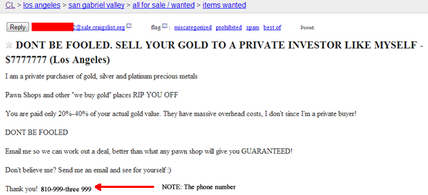 Using Craigslist to Buy Scrap Gold